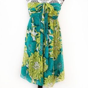 Ann Taylor Silk Floral Strapless Dress Size 2